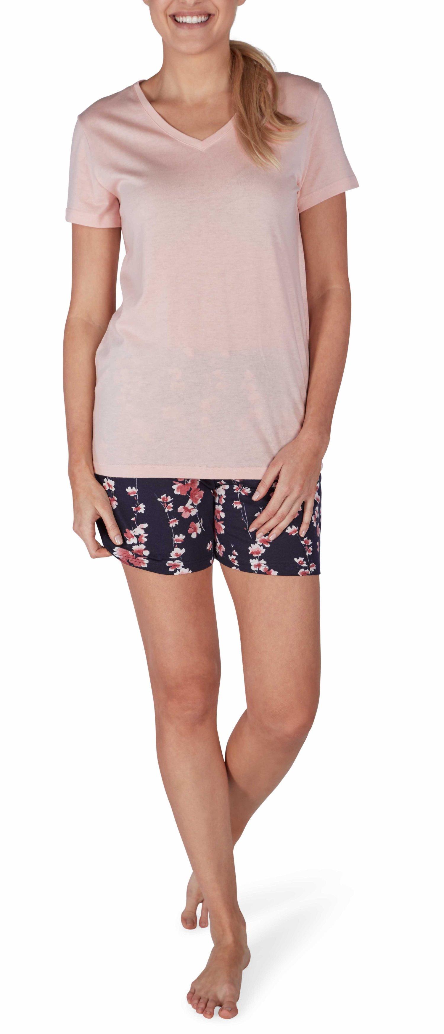 sale amazon Sortenstile von 2019 Details zu Huber Damen Schlafanzug Pyjama blau apricot mit Blumen 18968 7210